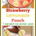 This 3 ingredient strawberry lemonade punch is the perfect non alcoholic punch for bridal showers, baby showers, Christmas parties, weddings, and large group entertaining. Its tangy flavor is sweet and refreshing. Its bright color makes a beautiful presentation. #ad #nonalcoholicpunch #strawberrylemonadepunch