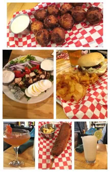 The Cardinal Boone NC hamburger, cocktails, hushpuppies, and salad