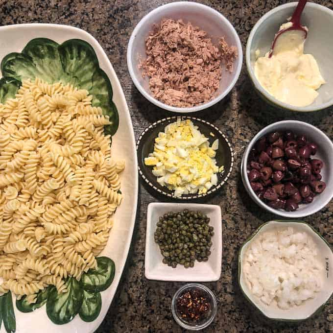 Ingredients for Mediterranean Tuna Pasta Salad