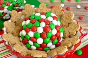 M&M Peppermint Cheeseball-20 Christmas Party Appetizers