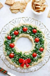 Christmas Appetizer Hummus Wreath
