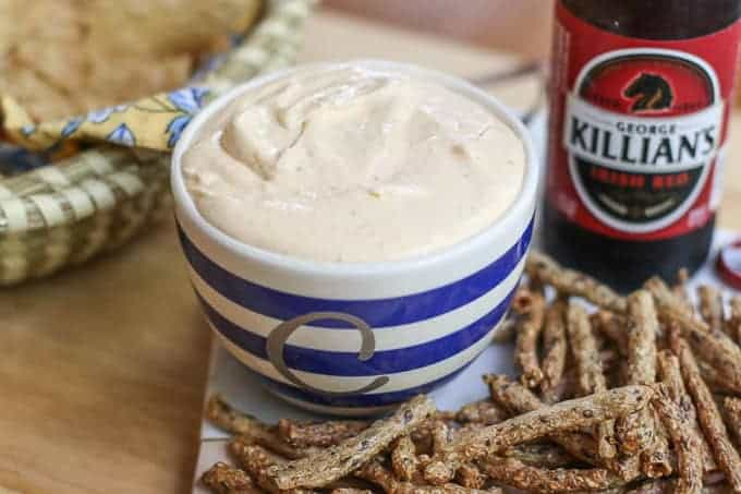 Beer Cheese Dip with pretzels