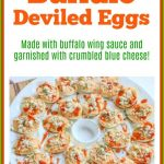 This Buffalo Deviled Eggs Recipe is a fun and delicious spin on traditional deviled eggs. They are made with buffalo wing sauce and garnished with crumbled blue cheese. They make the perfect party appetizer.