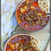 Crockpot Vegetable Beef Soup is made with tender chunks of beef and hearty vegetables that are slow cooked in a flavorful tomato broth. It is an easy, healthy, complete meal: meat, starch, and vegetables. There is no need side dishes. #Crockpot #VegetableBeefSoup #soup