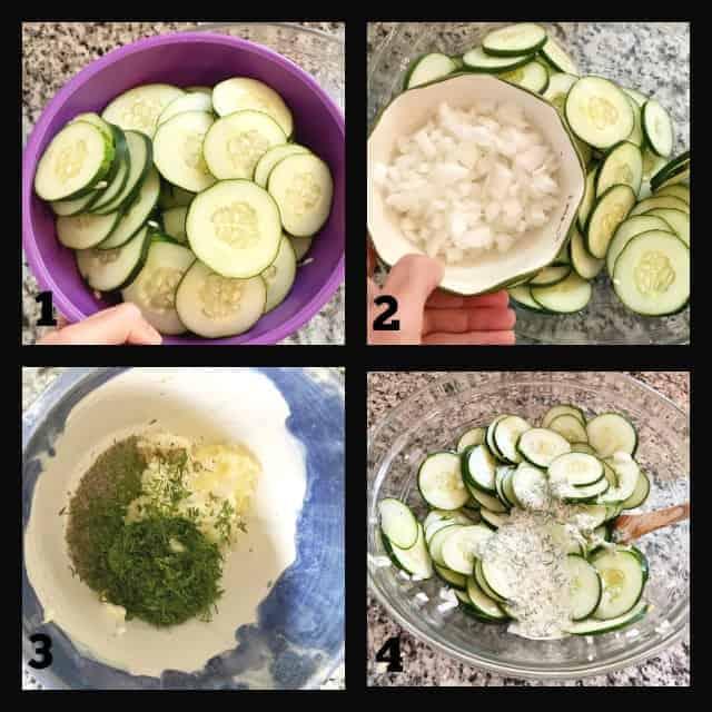 dill cucumber salad process photos