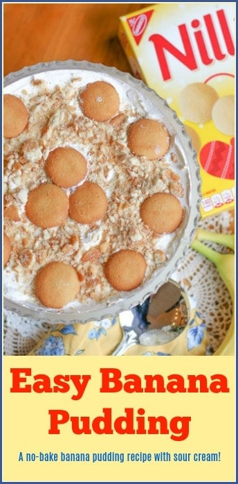 This is a delicious and easy Banana Pudding with sour cream recipe. The sour cream makes this pudding thick and creamy. It is the perfect no-bake dessert for cookouts, potlucks, and family gatherings.