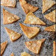 Making homemade baked tortilla chips is easy. With just three ingredients, you can have crispy, crunchy, salty, healthy tortilla chips that taste even better than the restaurant chips! #bakedtortillachips #homemadetortillachips #homemadechips