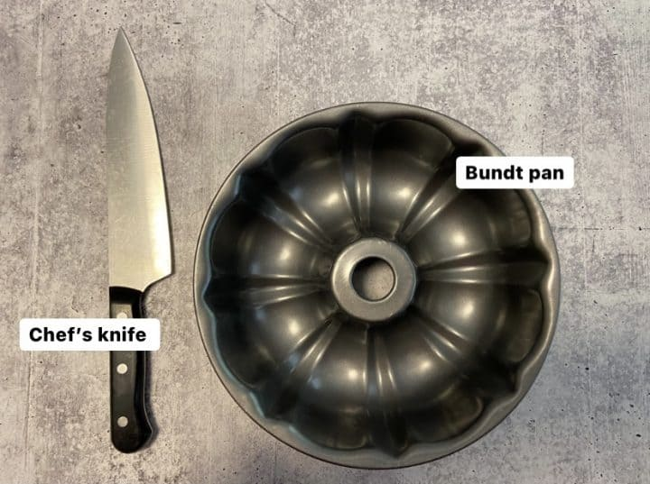 bundt pan and chef's knife used for cutting corn off the cob