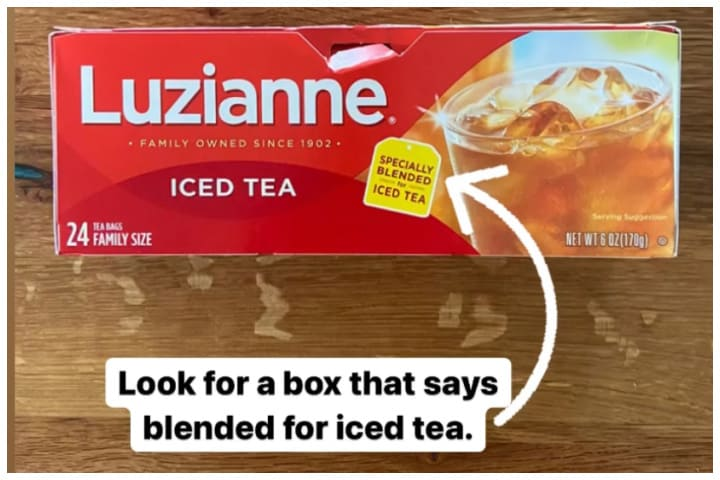 """Box of Luzianne Iced Tea with an arrow pointing to the words, """"Specifically blended for Iced Tea."""""""