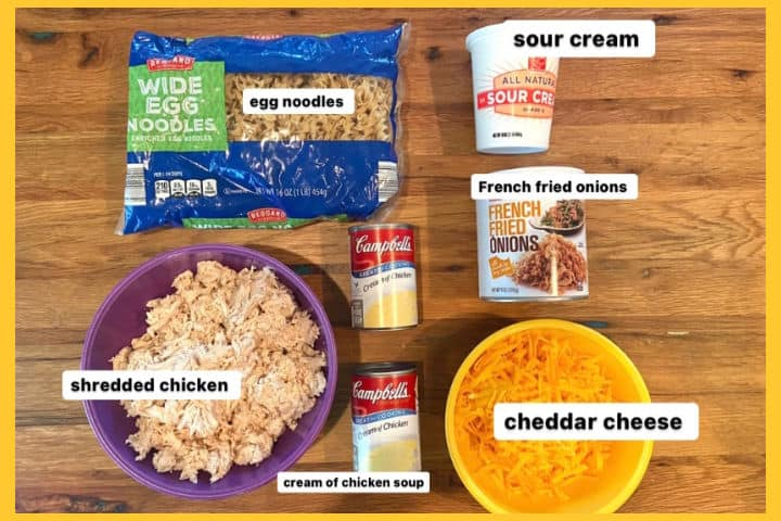 ingredients for French onion chicken noodle casserole-egg noodles, shredded chicken, cream of chicken soup, cheddar cheese, sour cream, and French fried onions