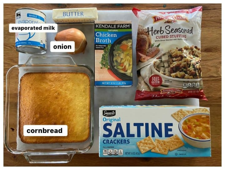 ingredients for Southern cornbread dressing