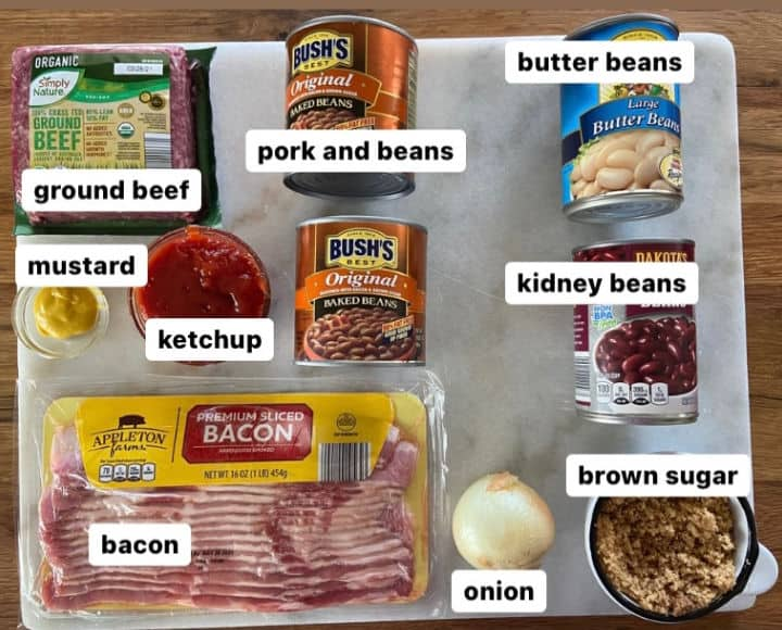 ingredients for baked calico beans