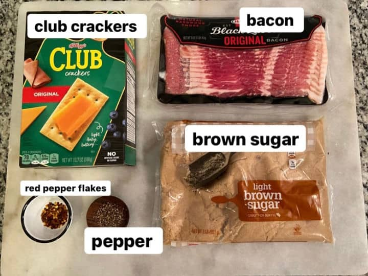 ingredients for candied bacon crackers