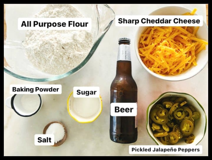 ingredients for jalapeno cheddar cheese beer bread