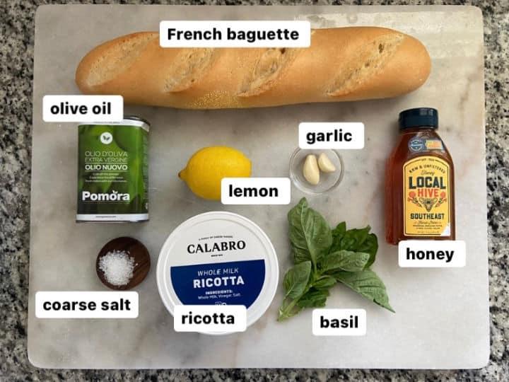ingredients for lemon ricotta brushetta