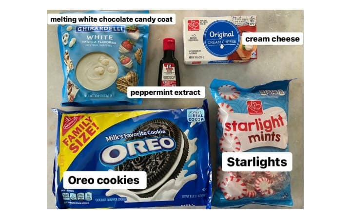 ingredients for peppermint Oreo truffles