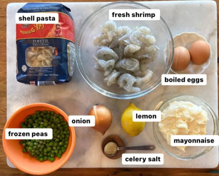 ingredients for shrimp pasta salad