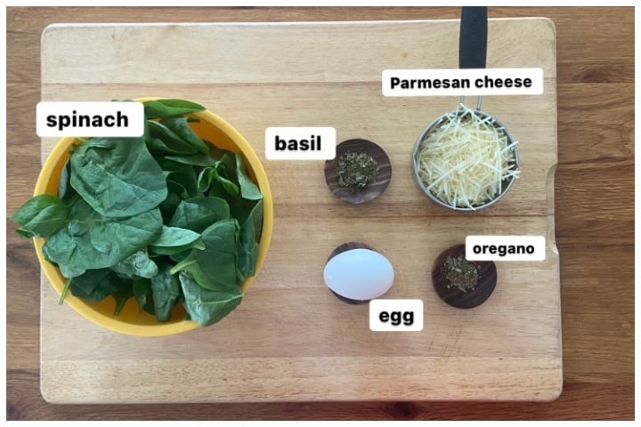 ingredients for spinach crust pizza- spinach, egg, Parmesan, basil, oregano