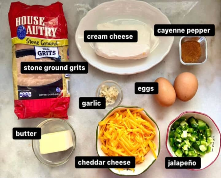 ingredients to make jalapeno cheese grits