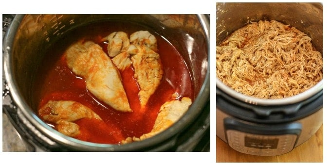 chicken breast in an instant pot and shredded buffalo chicken in an instant pot
