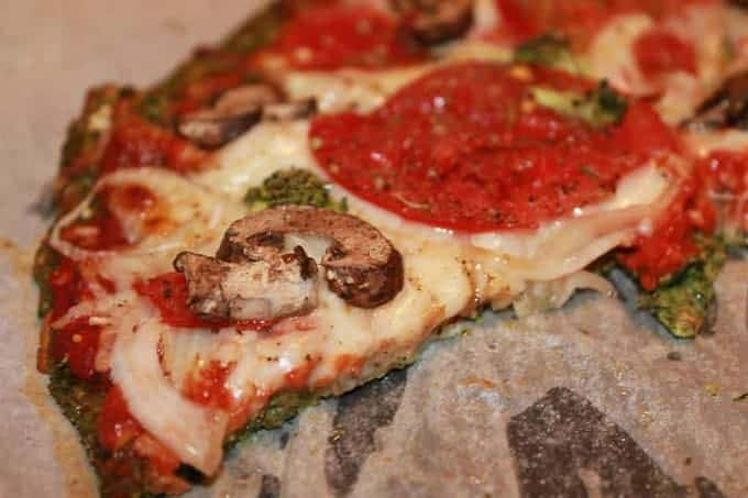 Pepperoni, Mushrooms, and Onions over Low Carb Spinach Pizza Crust