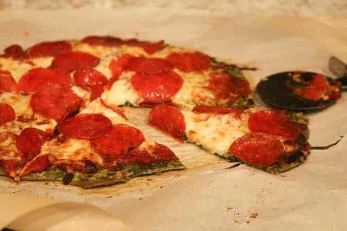 spinach crust pepperoni pizza