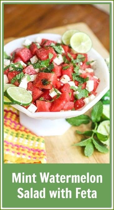 mint watermelon salad with feta  #watermelonsalad #ad