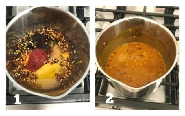 process pictures of mustard bbq sauce in pan