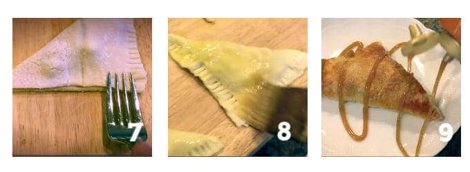 process Steps 7-9to make caramel apple turnover