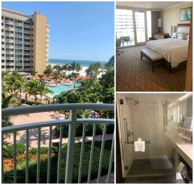 Room at the Marco Island Marriott Beach Resort. Collage of balcony view, bed, and shower.