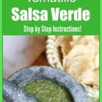 Tomatillo salsa verde is perfect for eating with crunchy tortilla chips or topping on your favorite Mexican foods. This green salsa is made with tomatillos, onions, Serrano peppers, limes, cilantro, and garlic. You can find all of the ingredients at your local grocery store. Try making it today!