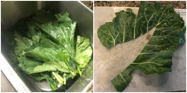 how to cut the stem out of collard greens