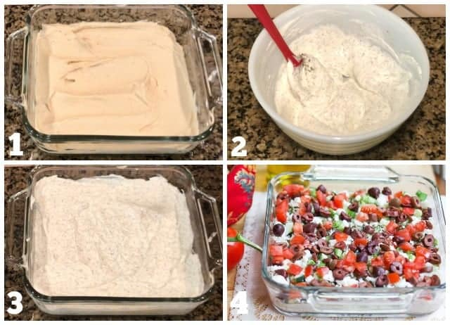 step by step process shots on how to make Greek Layer Dip