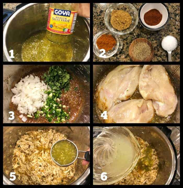 steps to make homemade salsa verde chicken in the Instant Pot