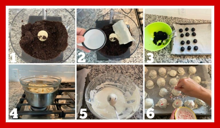 step by step image on how to make Peppermint Oreo Truffles
