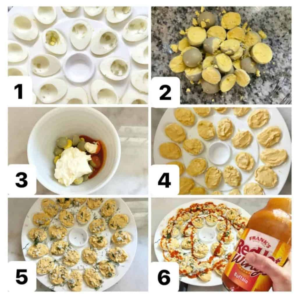 step by step how to make buffalo deviled eggs