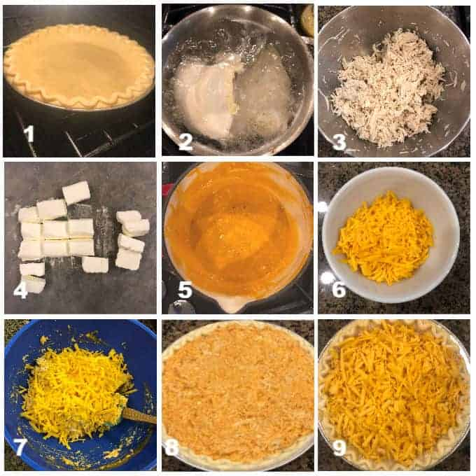 step by step process images on how to make buffalo ranch chicken pie