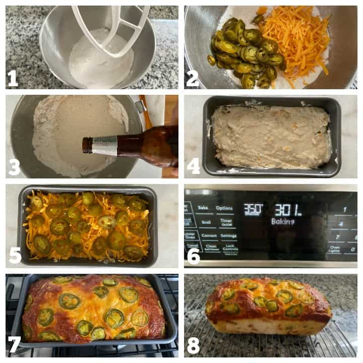 step by step how to make cheddar beer bread