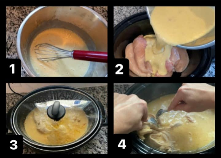 step by step how to make crockpot chicken and gravy