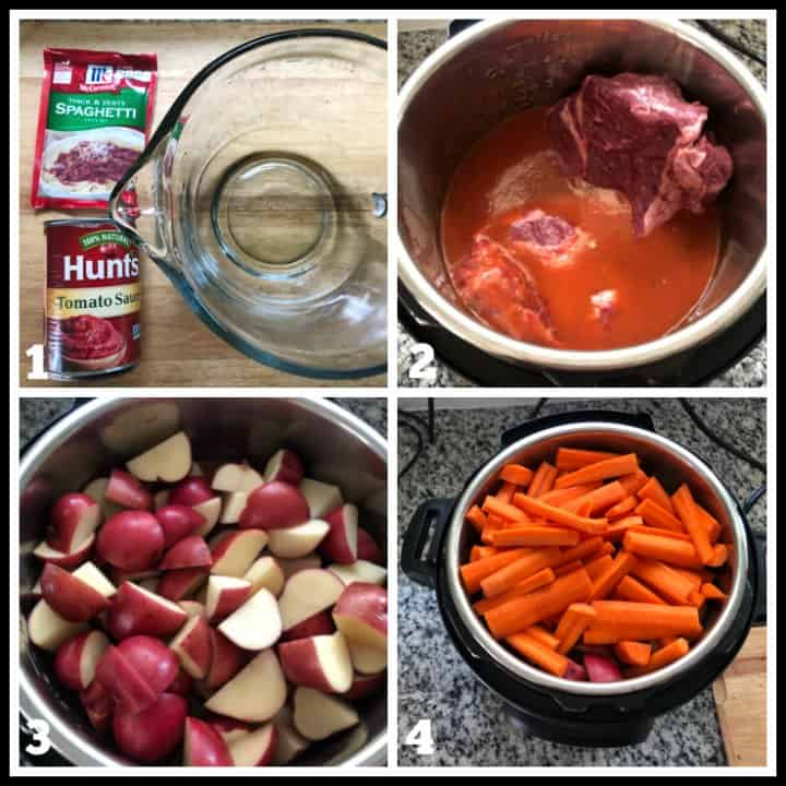 step by step how to make instant pot Italian pot roast dinner