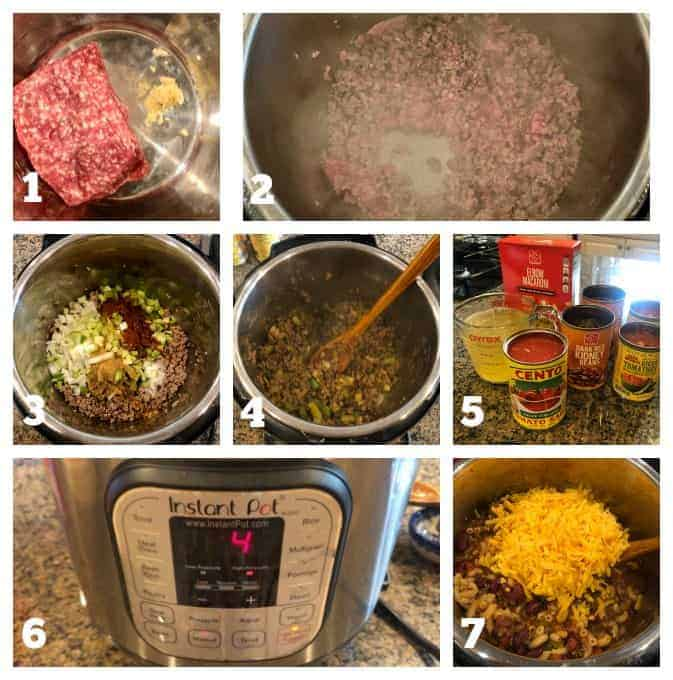 step by step process photos on how to make instant pot chili mac and cheese