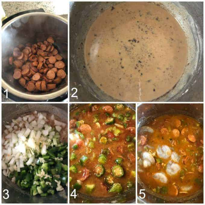 step by step how to make instant pot gumbo with shrimp and sausage