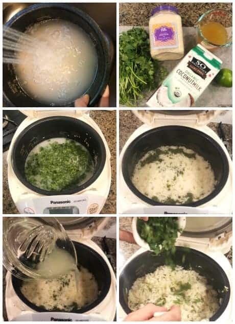 step by step how to make rice cooker coconut rice with cilantro and lime