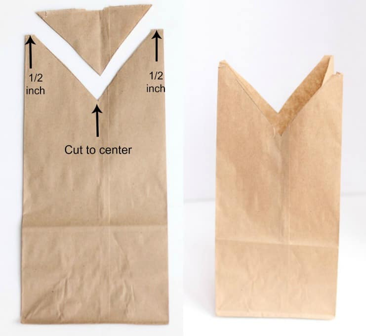 step by step image on how to cut out bunny bag
