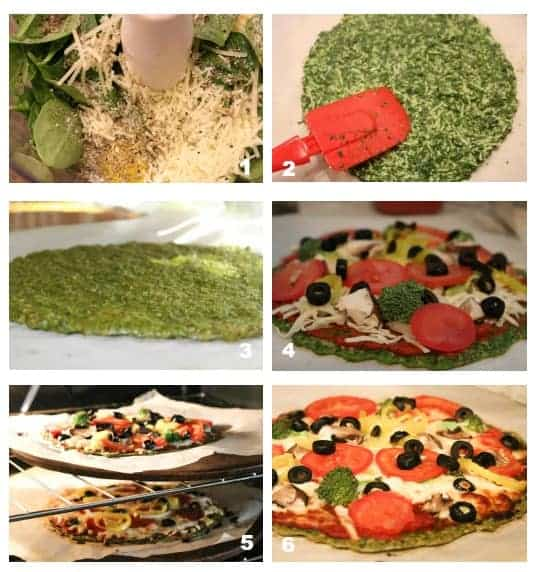 Step By Step images on How to make spinach low carb pizza crust