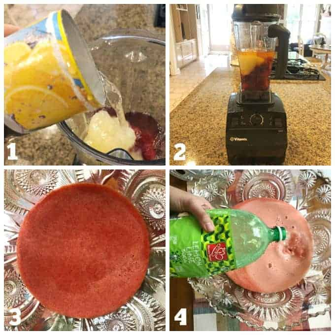 step by step process how to make strawberry lemonade punch