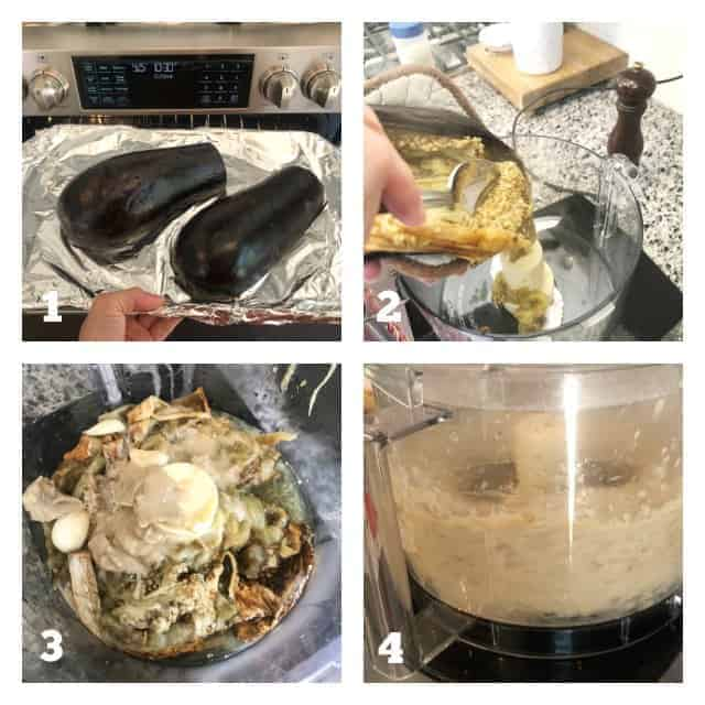 step by step process photos on how to make baba ganoush