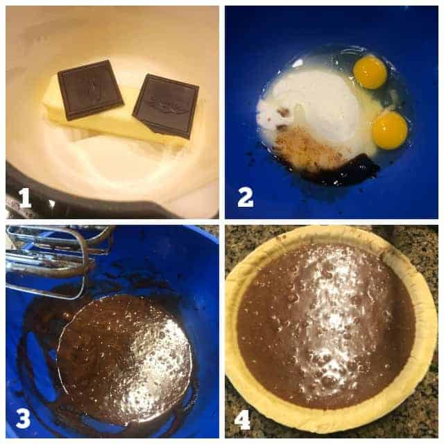 step by step process pictures of how to make chocolate chess pie