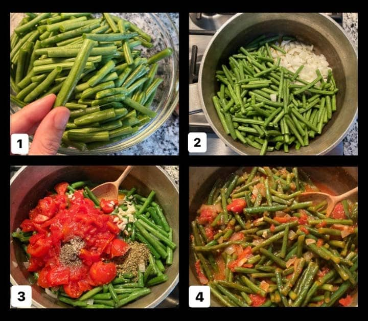 steps to make Greek green beans