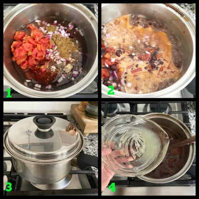 process photos on how to make Mexican black beans